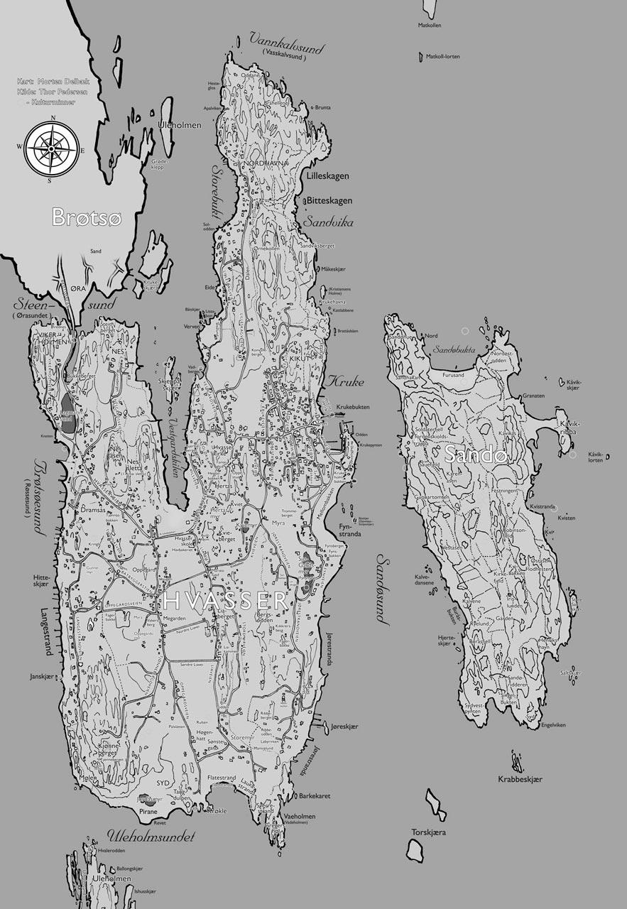 Hvasserkart sort-hvitt